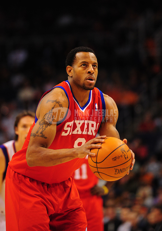 Dec. 28, 2011; Phoenix, AZ, USA; Philadelphia 76ers forward/guard Andre Igoudala during game against the Phoenix Suns at the US Airways Center. The 76ers defeated the Suns 103-83. Mandatory Credit: Mark J. Rebilas-USA TODAY Sports