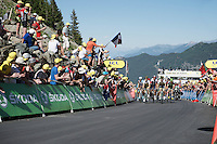 first grupetto coming in<br /> <br /> stage 17: Bern (SUI) - Finhaut-Emosson (SUI) 184.5km<br /> 103rd Tour de France 2016