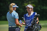 Brooke M. Henderson (CAN) chats with her caddie/sister on the tee at 11 during round 3 of the 2018 KPMG Women's PGA Championship, Kemper Lakes Golf Club, at Kildeer, Illinois, USA. 6/30/2018.<br /> Picture: Golffile | Ken Murray<br /> <br /> All photo usage must carry mandatory copyright credit (&copy; Golffile | Ken Murray)