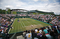England, London, 27.06.2014. Tennis, Wimbledon, AELTC, Overall view of court nr 3 in the background centercourt<br /> Photo: Tennisimages/Henk Koster