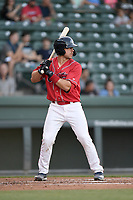 Catcher Kole Cottam (39) of the Greenville Drive, playing as the Energia in MiLB's Copa de la Diversion, bats in a game against the Augusta GreenJackets on Wednesday, April 10, 2019, at Fluor Field at the West End in Greenville, South Carolina. Augusta won, 9-8. (Tom Priddy/Four Seam Images)