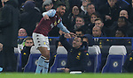 Aston Villa's Trezeguet celebrate with assistant head coach John Terry after scoring to make it 1-1 during the Premier League match at Stamford Bridge, London. Picture date: 4th December 2019. Picture credit should read: Paul Terry/Sportimage