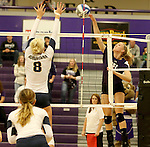 SIOUX FALLS, SD - SEPTEMBER 19:  Sydney Hunsley #8 from Augustana looks for the block as Makenna Rockeman #8 from the University of Sioux Falls tries for a kill during their match Saturday afternoon at the Stewart Center. (Photo by Dave Eggen/Inertia)