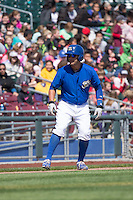 J.C. Boscan (7) of the Omaha Storm Chasers takes a lead from third base during the game against the Memphis Redbirds in Pacific Coast League action at Werner Park on April 22, 2015 in Papillion, Nebraska.  (Stephen Smith/Four Seam Images)