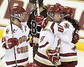 Kelli Stack (BC - 16), Taylor Wasylk (BC - 9) and Ashley Motherwell (BC - 18) celebrate Motherwell's goal which made it 5-1 in the third period. - The Boston College Eagles defeated the visiting Brown University Bears 5-2 on Sunday, October 24, 2010, at Conte Forum in Chestnut Hill, Massachusetts.