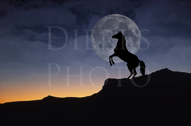 Horse on a hill rearing up in silhouette against a full moon rising in the night sky, created from a composite of four images.