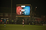 Fleetwood Town 1 Wrexham 1, 10/04/2012. Highbury Stadium, Football Conference Premier. The electronic scoreboard piercing the dark night as Fleetwood Town (in red) host Wrexham in a Blue Square Conference Premier match at Highbury Stadium. The match, between the top two teams in the division ended in a 1-1 draw watched by a near-capacity crowd of 4996. A victory for the hosts would have seen the club promoted to the Football League for the first time. Photo by Colin McPherson.