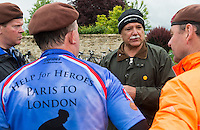 The first day of the Help the Heroes Big Battlefields Bike Ride from Paris to London. The first day started at Les Invalides, Paris, with an appearance by the Duchess of Cornwall, and passsed through Nery, ending at Compiegne, with a wreath laying ceremony in the Forest of Compiegne where the First World War Armistice was signed. Tuesday 28th May 2013.