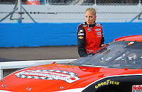 Apr 16, 2009; Avondale, AZ, USA; NASCAR Camping World Series West driver Kristin Bumbera during qualifying prior to the Jimmie Johnson Foundation 150 at Phoenix International Raceway. Mandatory Credit: Mark J. Rebilas-