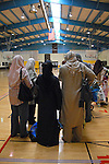 Mothers gather in the gymnasium before the women's track and field events at the Islamic Games in South Brunswick, New Jersey on May 26, 2007.  Over 600 Muslim youths from five states participated in the event.