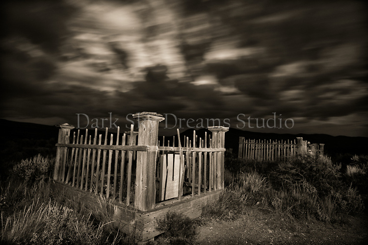 Moonrise in Bannack Cemetery #2 - b/w