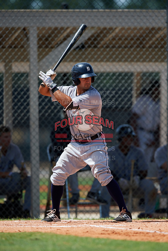 GCL Tigers West left fielder Vinny Esposito (30) at bat during a game against the GCL Tigers East on August 8, 2018 at Tigertown in Lakeland, Florida.  GCL Tigers East defeated GCL Tigers West 3-1.  (Mike Janes/Four Seam Images)