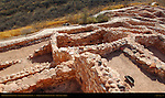 Reconstructed Pueblo Walls, Southern Rooms from Citadel, Tuzigoot Sinagua Pueblo, Tuzigoot National Monument, Verde Valley, Arizona