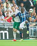 Stockholm 2015-08-24 Fotboll Allsvenskan Djurg&aring;rdens IF - Hammarby IF :  <br /> Djurg&aring;rdens Nyasha Mushekwi i kamp om bollen med Hammarbys Birkir Mar Saevarsson S&auml;varsson under matchen mellan Djurg&aring;rdens IF och Hammarby IF <br /> (Foto: Kenta J&ouml;nsson) Nyckelord:  Fotboll Allsvenskan Djurg&aring;rden DIF Tele2 Arena Hammarby HIF Bajen