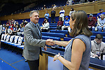 DURHAM, NC - NOVEMBER 26: Presbyterian head coach Todd Steelman and Duke head coach Joanne P. McCallie. The Duke University Blue Devils hosted the Presbyterian College Blue Hose on November 26, 2017 at Cameron Indoor Stadium in Durham, NC in a Division I women's college basketball game. Duke won the game 79-45.