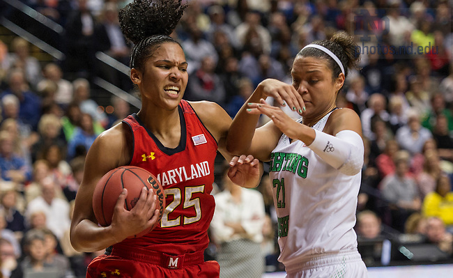 Apr. 6, 2014; Notre Dame Fighting Irish guard Kayla McBride defends against Maryland Terrapins forward Alyssa Thomas  in the first game of the semifinals of the NCAA Final Four tournament at the Bridgestone Arena in Nashville, Tenn. Notre Dame defeated Maryland 87 to 61. Photo by Barbara Johnston/University of Notre Dame