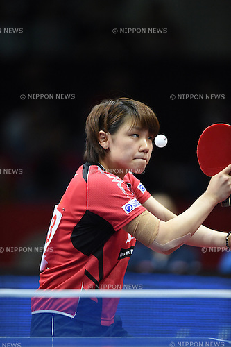 Yuka Ishigaki (JPN),<br /> MAY 4, 2014 - Table Tennis :<br /> 2014 World Team Table Tennis Championships Women's Semifinal match between Hong Kong 1-3 Japan at Yoyogi 1st Gymnasium in Tokyo, Japan. (Photo by Hitoshi Mochizuki/AFLO)