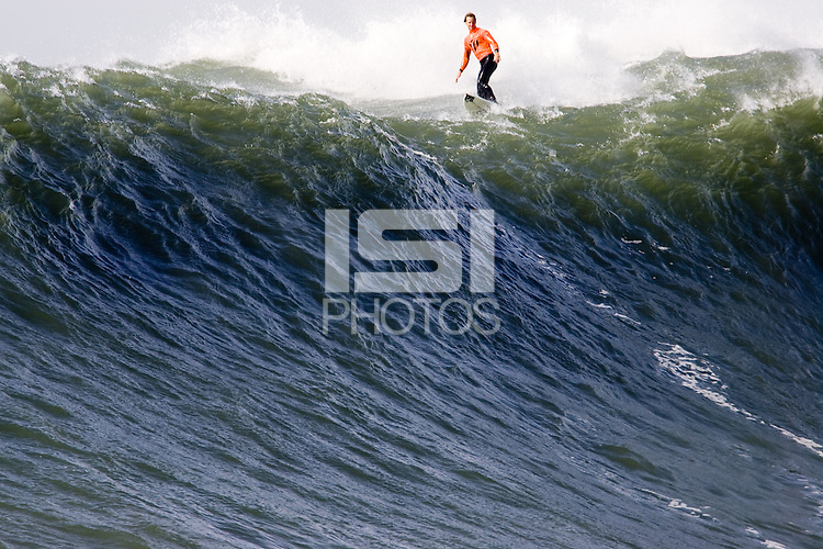 Chris Bertish, the 2010 Maverick's Champion looks over the edge of a big one during the 2009/2010 Sony Ericsson/Barracuda Networks, Mavericks Surf Contest on Saturday February 13, 2010...