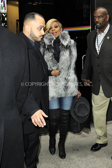WWW.ACEPIXS.COM<br /> <br /> December 2 2014, New York City<br /> <br /> Singer Mary J Blige made an appearance at 'The Wendy Williams Show' on December 2 2014 in New York City<br /> <br /> By Line: Curtis Means/ACE Pictures<br /> <br /> <br /> ACE Pictures, Inc.<br /> tel: 646 769 0430<br /> Email: info@acepixs.com<br /> www.acepixs.com