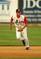 August 30 2008:  Derrik Gibson of the Lowell Spinners, Class-A affiliate of the Boston Red Sox, during a game at LeLacheur Park in Lowell, MA.  Photo by:  Ken Babbitt/Four Seam Images