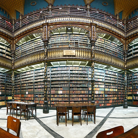 Reading room of the library Real Gabinete Portugues de Leitura, Rio de Janeiro, Brazil. --- No signed releases available.