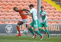 Blackpool's Armand Gnanduillet under pressure from Plymouth Argyle's Niall Canavan<br /> <br /> Photographer Kevin Barnes/CameraSport<br /> <br /> The EFL Sky Bet League One - Blackpool v Plymouth Argyle - Saturday 30th March 2019 - Bloomfield Road - Blackpool<br /> <br /> World Copyright © 2019 CameraSport. All rights reserved. 43 Linden Ave. Countesthorpe. Leicester. England. LE8 5PG - Tel: +44 (0) 116 277 4147 - admin@camerasport.com - www.camerasport.com