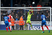 Chris Neal of Fleetwood Town parries the shot during the Sky Bet League 1 match between Peterborough and Fleetwood Town at London Road, Peterborough, England on 28 April 2018. Photo by Carlton Myrie.