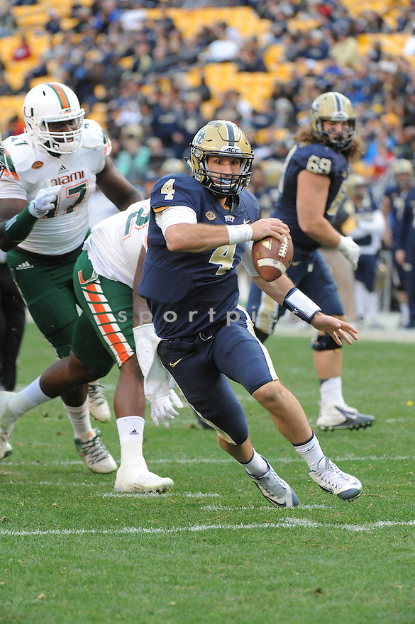 Pittsburgh Panthers Nate Peterman (4) during a game against the Miami Hurricanes on November 27, 2015 at Heinz Field in Pittsburgh, PA. Miami beat Pittsburgh 29-24.