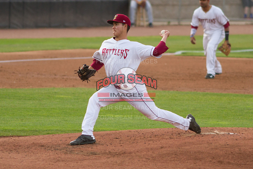 Wisconsin Timber Rattlers pitcher Kodi Medeiros (16) delivers a pitch during a Midwest League game against the Lake County Captains on June 3rd, 2015 at Fox Cities Stadium in Appleton, Wisconsin. Wisconsin defeated Lake County 3-2. (Brad Krause/Four Seam Images)