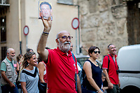 Palermo (Sicily - Italy), 17/07/2017. March of the Agende Rosse, from &quot;Casa di Paolo&quot; to the Faculty of Law at the University of Palermo, to mark the 25th Anniversary of Via D'Amelio bombing where an est. 100kg TNT bomb killed the anti-mafia Magistrate Paolo Borsellino. Also killed by the bomb were five members of Borsellino's police &quot;scorta&quot; (escorts from the special branch of the Italian police force who protect Judges). The police officers were: Agostino Catalano, Emanuela Loi (the first Italian female member of the police special branch and the first one to be killed on duty), Vincenzo Li Muli, Walter Eddie Cosina and Claudio Traina.<br /> <br /> For more info please click here: http://19luglio1992.com &amp; https://www.facebook.com/agenderosse/ &amp; https://en.wikipedia.org/wiki/Via_D%27Amelio_bombing (English Version) &amp; https://it.wikipedia.org/wiki/Strage_di_via_D%27Amelio (Italian Version)
