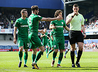 Preston North End's Billy Bodin, Alan Browne and Ben Pearson  appeal to referee Robert Jones<br /> <br /> Photographer Andrew Kearns/CameraSport<br /> <br /> The EFL Sky Bet Championship - Queens Park Rangers v Preston North End - Loftus Road - London<br /> <br /> World Copyright &copy; 2018 CameraSport. All rights reserved. 43 Linden Ave. Countesthorpe. Leicester. England. LE8 5PG - Tel: +44 (0) 116 277 4147 - admin@camerasport.com - www.camerasport.com
