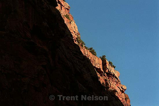 Sunlight on the canyon rim on a Native American river trip through Lodore Canyon and Dinosaur National Monument.<br />