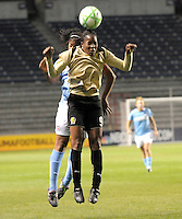 # 9 Kandace Wislon  of FC Gold Pride gets in front of #12 Chioma Igwe  of the  Red Stars for  the ball.   FC Gold Pride beat the Red Stars 1-0.