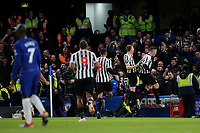 Ciaran Clark celebrates scoring Newcastle's opening goal in front of the away fans during Chelsea vs Newcastle United, Premier League Football at Stamford Bridge on 12th January 2019