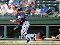 Infielder Elmer Reyes (7) of the Rome Braves, an Atlanta Braves affiliate, in a game against the Greenville Drive on May 6, 2012, at Fluor Field at the West End in Greenville, South Carolina. Greenville won, 11-3. (Tom Priddy/Four Seam Images).