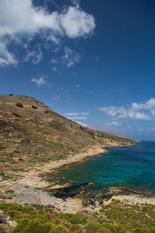 The beautiful roads and views of the Mediterranean Sea on the Spatha Peninsula, Crete, Greece, Europe