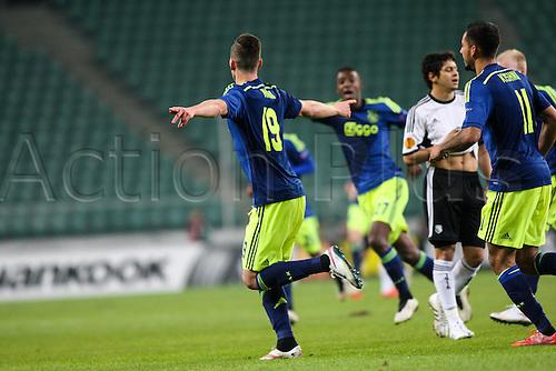 26.02.2015. Warsaw, Poland. Europa League football. Legia Warsaw versus Ajax.  Arkadiusz Milik (Ajax)  celebrates scoring the first goal