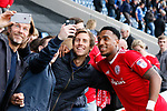 Chesterfield 1 Accrington Stanley 2, 16/09/2017. Proact Stadium, League Two. Mallik Wilks of Accrington Stanley poses for a selfie with fans at full time.  Photo by Paul Thompson.