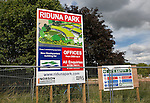 Riduna Park new building construction site notice board, Melton, Suffolk, England, UK