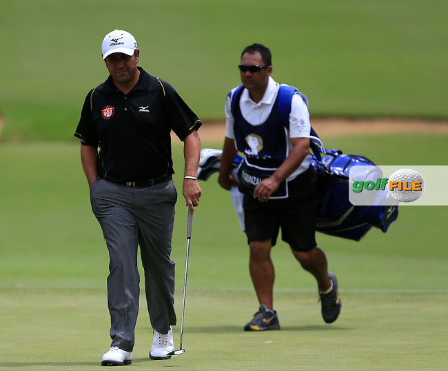 Ricardo Gonzalez (ARG) and caddy Jason on the 2nd during Round 3 of the ISPS HANDA Perth International at the Lake Karrinyup Country Club on Saturday 25th October 2014.<br /> Picture:  Thos Caffrey / www.golffile.ie