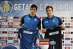 Santiago Vergini (L) and Balazs Megyeri during their presentation as new Getafe´s `players in Madrid, Spain. July 16, 2015. (ALTERPHOTOS/Victor Blanco)