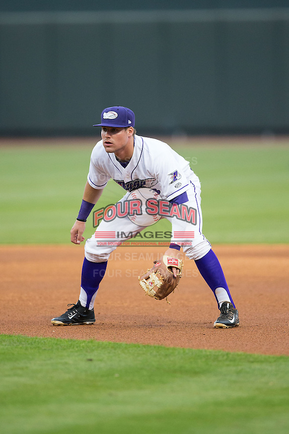 Winston-Salem Dash second baseman Jake Peter (3) on defense against the Myrtle Beach Pelicans at BB&T Ballpark on April 18, 2015 in Winston-Salem, North Carolina.  The Pelicans defeated the Dash 8-4 in game two of a double-header.  (Brian Westerholt/Four Seam Images)