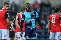 Aaron Pierre of Wycombe Wanderers (centre) during the Sky Bet League 2 match between Wycombe Wanderers and Morecambe at Adams Park, High Wycombe, England on 12 November 2016. Photo by David Horn.