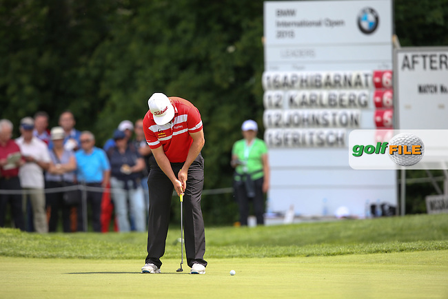 Birdie for Andrew Johnston (ENG) on his last hole the 9th and the clubhouse lead at lunch during Round One of the 2015 BMW International Open at Golfclub Munchen Eichenried, Eichenried, Munich, Germany. 25/06/2015. Picture David Lloyd | www.golffile.ie