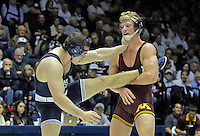 STATE COLLEGE, PA - JANUARY 25: Brett Pfarr of the Minnesota Golden Gophers and Matt McCutcheon of the Penn State Nittany Lions during their match on January 25, 2015 at Recreation Hall on the campus of Penn State University in State College, Pennsylvania. Minnesota won 17-16. (Photo by Hunter Martin/Getty Images) *** Local Caption *** Matt McCutcheon;Brett Pfarr