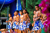 Young male dancers perform at the annual Rain Tree Festival on the island of Saipan located near the island of Guam in the southwest pacific area.