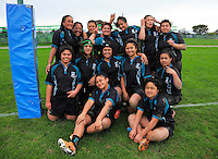 The Southern Cross team pose for a group photo after the New Zealand Secondary Schools Girls Top 4 rugby semfinal between Hamilton Girls' High School (black maroon and gold) and Southern Cross Campus College (black and teal) at Arena Manawatu, Palmerston North, New Zealand on Friday, 4 September 2015. Photo: Dave Lintott / lintottphoto.co.nz