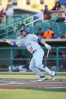 Mikey White (14) of the Stockton Ports bats against the Lancaster JetHawks at The Hanger on May 26, 2016 in Lancaster, California. Stockton defeated Lancaster, 16-7. (Larry Goren/Four Seam Images)