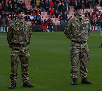 Soldiers attend the pre march remembrance to mark the 100th anniversary of the end of the Great War (WW1)<br /> <br /> Photographer David Horton/CameraSport<br /> <br /> The Premier League - Bournemouth v Manchester United - Saturday 3rd November 2018 - Vitality Stadium - Bournemouth<br /> <br /> World Copyright &copy; 2018 CameraSport. All rights reserved. 43 Linden Ave. Countesthorpe. Leicester. England. LE8 5PG - Tel: +44 (0) 116 277 4147 - admin@camerasport.com - www.camerasport.com