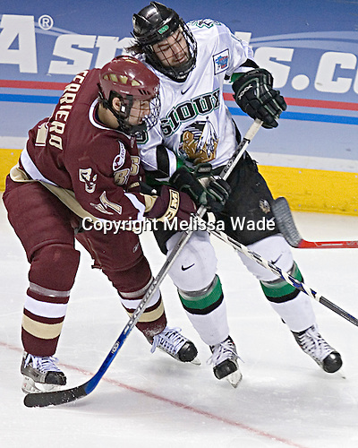 Benn Ferreiro, Drew Stafford - The Boston College Eagles defeated the University of North Dakota Fighting Sioux 6-5 on Thursday, April 6, 2006, in the 2006 Frozen Four afternoon Semi-Final at the Bradley Center in Milwaukee, Wisconsin.